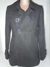 Paper Doll Los Angeles Womens Double Breasted Coat Jacket Large Gray Polyester