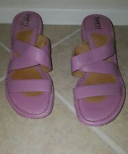 Born Pink Leather Wedge Strappy Sandals Womens Size 9M