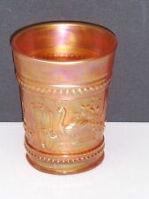 "NORTHWOOD PEACOCK AT FOUNTAIN ANTIQUE MARIGOLD CARNIVAL GLASS 4"" TUMBLER (CG1)"
