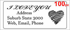100 Personalised return address label custom sticker 56x25mm love heart wedding