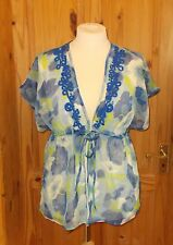 GRAY&OSBOURN ivory blue lime green floral chiffon kaftan tunic holiday top 14