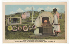 Open Air Bread Oven Grand Valley Gaspe Quebec Canada 1950s postcard