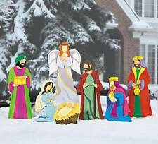 Outdoor Christmas Deluxe Nativity Scene Large Metal Yard Stakes Decoration 7-PC