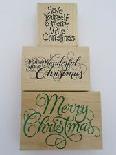Christmas Wood Wooden Rubber Stamp Stamps Embossing (3) Lot Holiday Craft Hobby