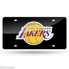 LOS ANGELES LAKERS LOGO NBA BASKETBALL BLACK LASER LICENSE PLATE MADE IN USA