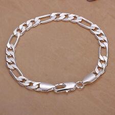 New 8mm Flat Men women wedding Chain 925 Sterling silver Bracelet Bangle H200