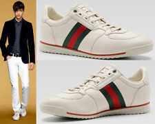 GUCCI 243825 MENS SNEAKERS SHOES WITH WEB DETAIL WHITE LEATHER sz 13.5G 14