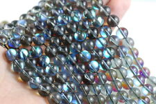 8MM MYSTIC AURA QUARTZ GEMSTONE TITANIUM GREY  ROUND LOOSE BEADS 15""