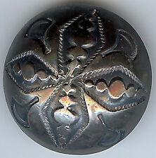 VINTAGE NAVAJO INDIAN SILVER STAMPED DESIGNS DOMED BUTTON