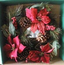 """New Holiday Time 20"""" Red Poinsettia Pine Wreath Christmas Door Winter Decoration"""