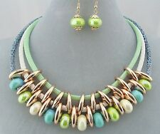 Green And Blue Bead And Cord Necklace Set Gold Rings Fashion Jewelry NEW
