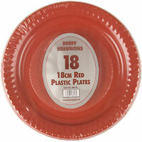 """18 x RED 18cm 7"""" PLASTIC PLATES ROUND PLASTIC PLATE PARTY DISPOSABLE TABLEWARE"""