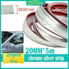 20MM X 5M chrome Car SIDE Trim Molding Interior Adhesive Silver Strip Grille