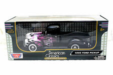 MotorMax 1940 Ford Pickup Black W/ Flames 1/18 New Diecast Car .