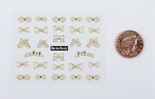 Gold Glitter Bows Ties 3D Nail Art Stickers Decals UV Acrylic Tips Decoration