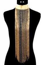 "11"" gold 19"" tassel fringe chain bib collar choker necklace .30"" earrings 55"