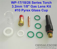 10 pcs TIG Welding Stubby Gas Lens #10 Pyrex Cup Kit  for Tig WP-17/18/26 1/8""
