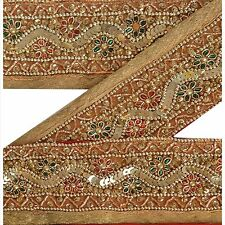 Vintage Sari Border Antique Hand Beaded 1 YD Indian Trim Sewing Red Lace