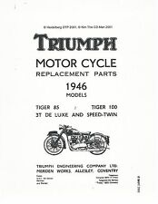 Triumph Parts Manual Book 1946 Tiger 85, Tiger 100, 3T De Luxe & Speed Twin 5T
