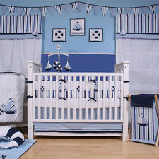 Baby 9 PC Sailor Crib Set Bedding Sheets Mobile Valance Nautical Cotton Nursery