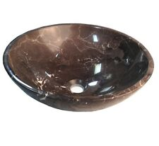 Coffee Marble Natural Stone Vessel Sink Brown with White Veining Round Sink
