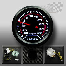 "TURBO BOOST GAUGE SMOKED DIAL FACE 52mm 2"" (PSI) WHITE LED INTERIOR DASH SPEEDO"