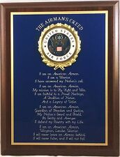 USAF / UNITED STATES AIR FORCE AIRMAN'S CREED PLAQUE - GREAT GIFT OR AWARD !