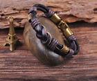 S531 Retro Classic Genuine Leather Braided Bracelet Wristband Men's Cuff Black