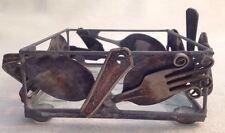 Welded Art Utensils. NAPKIN holder. Forks Spoons Knives Metal & Glass