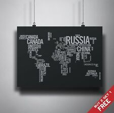 A3 WORLD MAP IN WORDS Poster Print Photo Paper Home Wall Decoration GIFT IDEA