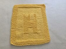 100% COTTON HAND KNIT DISH CLOTH - CAT - YELLOW - QUILT PATTERN - UNIQUE