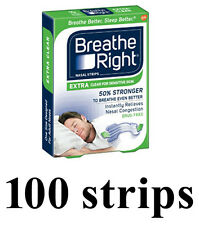 100 pcs Breathe Right Extra NASAL STRIPS 50% Stronger Clear for Sensitive Skin