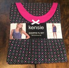 NWT Womens KENSIE Black Geo Shortie Tank And Boxer Pajama Set Size Small S