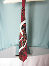 Aldo Ponti Mens Tie All Silk 3.5 inches wide Red Black White 58.5 ins long EPOC