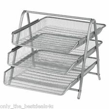 Office Filing Trays Holder A4 Document Letter Paper Wire Mesh Storage SILVER