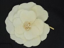 VINTAGE CLASSIC BEIGE FABRIC FLOWER CHANEL CAMELLIA CORSAGE PIN BROOCH ~ 3""