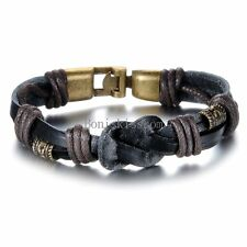 Black Leather Cord Braided Love Infinity Symbol Cuff Bracelet Wristband for Men