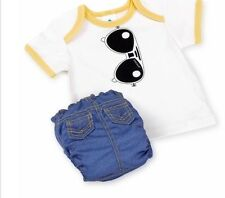 Perfect Bum Sunglasses / Denim Reusable Cloth Diaper/Tshirt Set, Small 6-13 lbs