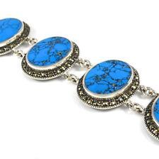 Large Sterling Silver Blue Faux Turquoise Marcasite Vintage Modernist Bracelet