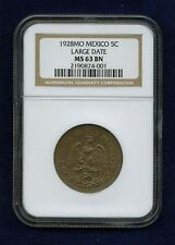 MEXICO ESTADOS UNIDOS 1928 5 CENTAVOS COIN CERTIFIED UNCIRCULATED NGC MS63-BN