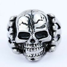 Europe Newest Punk Men's Gothic Stainless Steel Skull Biker Ring Gift Size 8