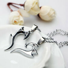 Brand New Couple Necklace Heart Wings Stainless Steel Chain Charm Pendant 2PC
