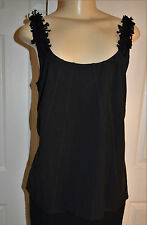 WORTH Solid Blue Navy Ponte' Ribboned Modal Blend Knit Camisole Top size M NWOT