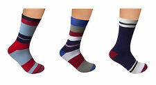 """Men Cotton Seamless Socks 3 PACK by Rambutan """"Navy Collection"""" Colorful Striped"""