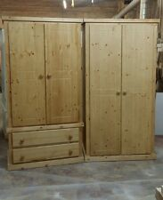 HANDMADE AYLESBURY SOLID PINE( ANTIQUE WAX)  2 X WARDROBE **READY ASSEMBLED**