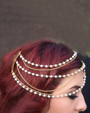Trendy Pearl & Golden Chain Layers with Black hair comb headgear hair accessorie