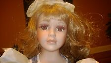 """Genuine Hand Painted Bisque Porcelain Doll 22"""" Victorian Doll With Stand"""