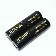 2 pcs 18650 batteries with Big Capacity - ENOOK 3600mah Safe and Reliable.