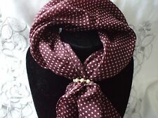 Scarf + Scarf Ring Gift Set Brown and Pink Spotted Cream & Gold Ring + Gift Bag