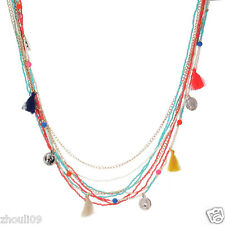 Fashion beads woman Statement crystal multi chunky chain charm  necklace e736